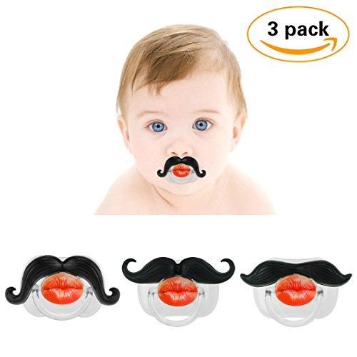 3Pcs Mustache Pacifier for Baby, KOMIWOO Funny Gentleman Mustache Lip Pacifier Cute Novelty Baby Stuff for Newborn Infant, BPA Free Latex Free Made with Soft Silicone - Great Baby Shower Gift!