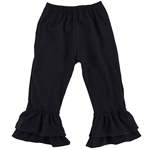 Flare Slacks - Toddler Girls Cotton Leggings Stretchy Fancy Flare Pants Double Ruffles Trousers Christmas Boutique Slacks Joggers Activewear Black 12-18 Months