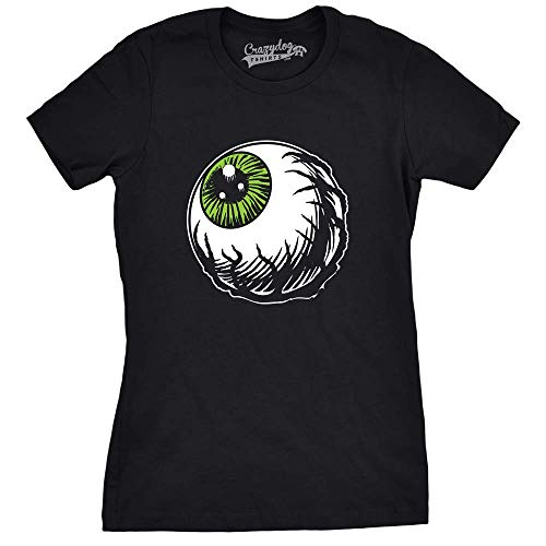 Crazy Dog T-Shirts Womens Scary Eyeball Tshirt Funny Halloween Tee for Ladies -S Heather -