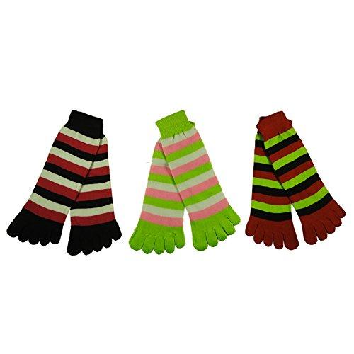 RSG Hosiery Funky Striped Toe Socks Kids/Children 3-Pack (Black/Red/Lime) ()