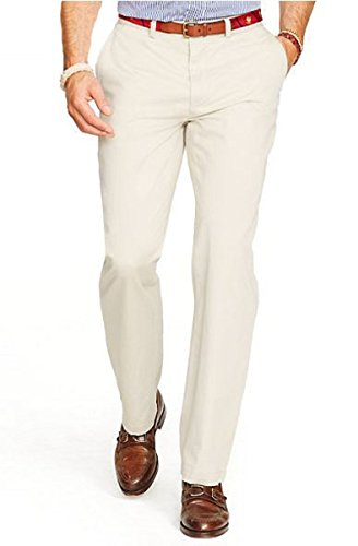 Polo Ralph Lauren Mens Hudson Relaxed Fit Slit Pockets Casual Pants Tan 34/30 ()