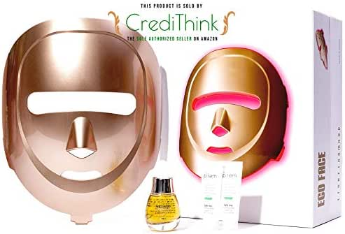 ECO FACE Near-infrared LED Photon Mask for Home LED Therapy inc. MIGUHARA Whitening Serum Gift | 120 LED lights (60 Near-infrared & 60 Visible) | Korean Electric Facial Skin Rejuvenation | (GOLDEN)