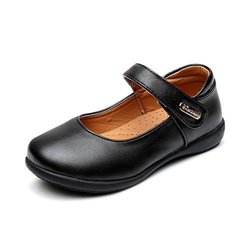 OCHENTA Girl's Mary Jane Dress Strap Uniform School Flat Oxford Shoes Black PU Buckle Tag 26-10 M US Toddler by OCHENTA