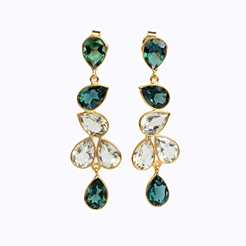 Elegant Green Tourmaline Quartz and Green Amethyst Quartz Drop Earrings (Date Tourmaline Earrings)