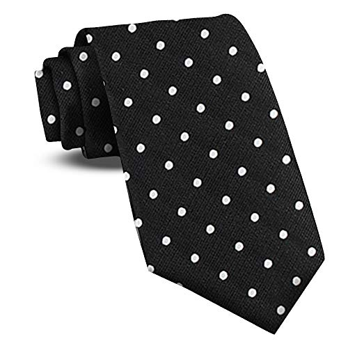 (Extra Long Ties For Men Woven Big and Tall Tie Mens Ties : XL Solid Color Necktie (Dots - Black/White))