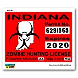 Graphics and More Indiana in Zombie Hunting License Permit Red - Biohazard Response Team - Window Bumper Locker Sticker