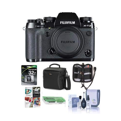 Fujifilm X-T2 Mirrorless Camera Body, Black - Bundle with Camera Bag, 32GB SDHC U3 Card, Cleaning Kit, Memory Wallet, Card Reader, Software Package