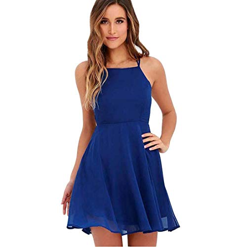 Sleeveless Gown Cocktail Falda Women's Party Mini Bandage Dress Blue Backless NREALY Zq47pwYz