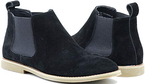 (Enzo Romeo CO01 Men's Chelsea Boots Dress Fashion Slip On Suede Leather Ankle Boots (12 D(M) US, Black))