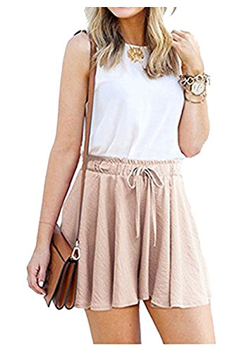 Durcoo Womens Summer Shorts Drawstring Elastic Waist Casual Shorts Culottes Pink XL US 8 by Durcoo