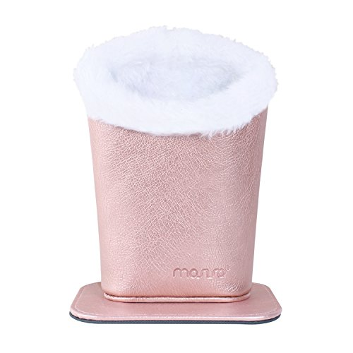 MOSISO Eyeglasses Holder, Plush Lined PU Leather Stand Case with Magnetic Base, Rose Gold
