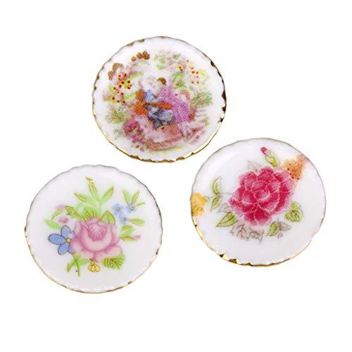 Brosco 3pcs Dollhouse Miniature Kitchen Colorful Ceramic Porcelain Dish Plates ()