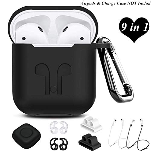 AirPods Case Cover,9 in 1 Airpods Accessories Kits Protective Silicone Skin Compatible Apple Airpods Watch Band Holder/Ear Hook/Anti-Lost Stap/Clip/Keychain/Grip (Airpods Case Black) ()