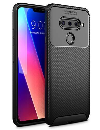 LG V40 Case,LG V40 ThinQ Case, Dretal Slim Lightweight Soft TPU Case Flexible Scratch Resistant Shock Resistant Anti-Fingerprint Protective Cover for LG V40 ThinQ (Black)