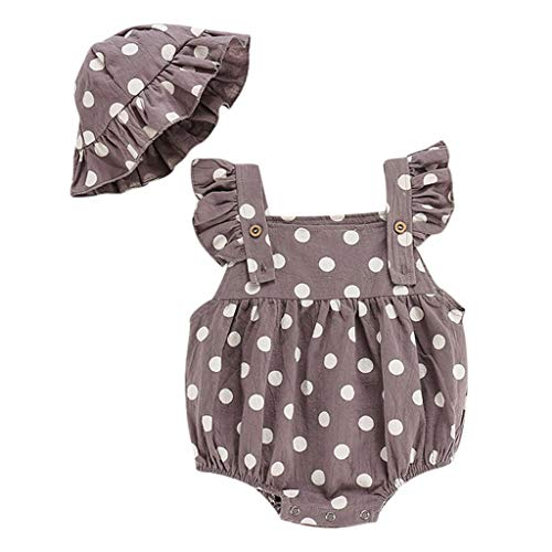Ariestorm Infant Baby Boys&Girls Sleeveless Ruffles Dot Print Romper Bodysuit+Sun Hat 2Pcs Set Gray