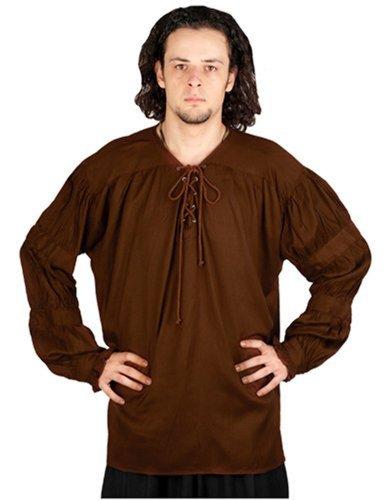 Pirate Gothic Renaissance Medieval Costume Shirt (Large, Chocolate)