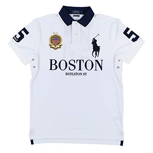 Polo Ralph Lauren Mens Custom Slim Fit Mesh City Polo Shirt (Medium, White Boston) (Ralph Lauren Grün Polo)