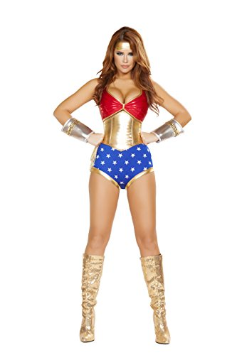 4 Piece Miss Super Hero Halter Top & High Waisted Shorts Party Costume - Superhero 4 Piece Costumes