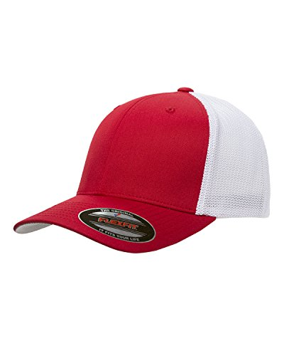 Maddmax Car Art 1948-53 Dodge Pickup Truck Classic Outline Design Flexfit Trucker Hat Cap red/White