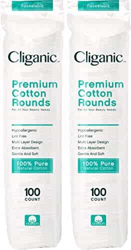 Cliganic Premium Cotton Rounds for Face (200 Count)   Makeup Remover Pads, Hypoallergenic, Lint-Free   100% Pure Cotton