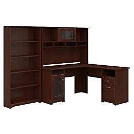 Bush Furniture Cabot L Shaped Desk with Hutch and 5 Shelf Bookcase in Espresso Oak