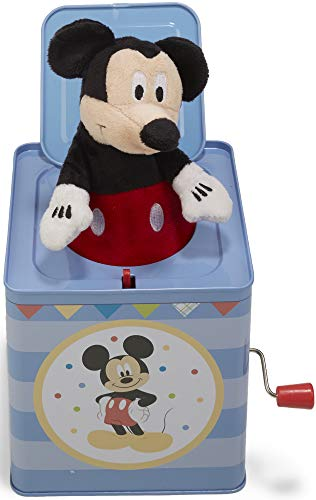 Music Box Mouse Mickey - Disney Baby Mickey Mouse Jack-in-the-Box, 6.5