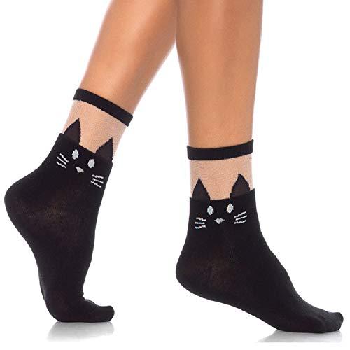 (Leg Avenue Womens Black Kitty Cat Anklet Socks)