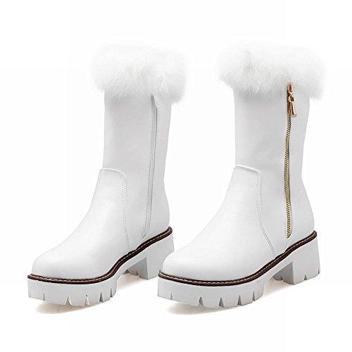 Mee Shoes Damen Reißverschluss chunky heels Plateau Stiefel Weiß