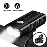 LED Bike Light Set,USB Rechargeable Bicycle Lights Headlight Front and Back Rear Tail Light, Built in 2600 mAh Battery Super Bright Waterproof Safety Flashlight For Mountain Road Kids Men Cycling