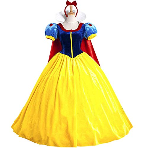 KUFV Women's Princess Costume Dress Snow White Princess Costume with Headband -