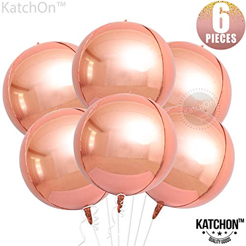 Rose Gold Orbz Balloons Decorations - Pack of 6   Big 22 Inchs 360 Degree Round Balloons   Metallic Rose Gold Balloons   4D Sphere Mylar Foil Mirror Finish   Chrome Rose Gold Birthday, Baby Shower