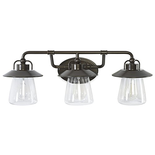 allen + roth Bristow 3-Light 8.57-in Specialty Bronze Cone Vanity - Allen Bristow And Roth