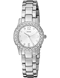 GUESS Women's U0889L1 Petite Silver-Tone Watch with Silver Dial , Crystal-Accented Bezel and Stainless Steel Pilot Buckle