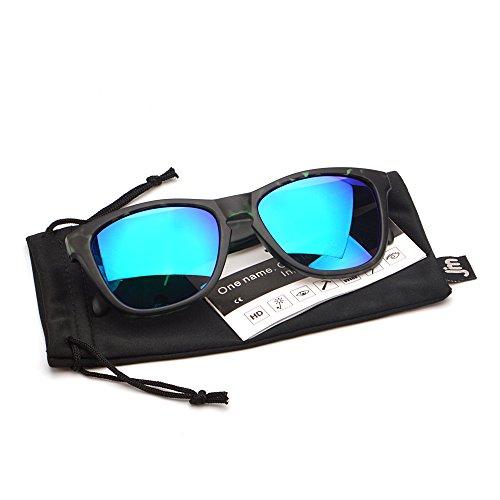 Sol de Hombre Para Espejo Peso Ligero Negro Reflexivo Mujer Gafas UV400 Demi Original de Verde 5qRA11