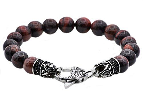 Blackjack Jewelry Men's Genuine Gemstone Stainless Steel Bead Bracelet with Black CZ and Skull Lobster Clasp (Burgundy (Red Tiger Eye))