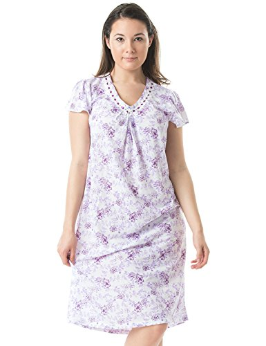 Casual Nights Women's Floral V-Neck Short Sleeve Nightgown - Purple - Large