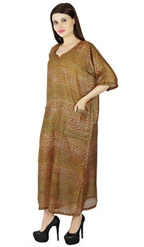 Kurti and Casual Summer Dress Boho Women Wear Beach Hippie Brown Tunic Sundress Long Green 7fnX5nwpB