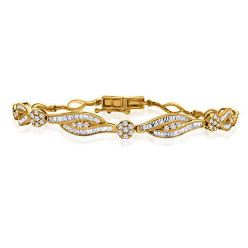 10K Solid Gold Round & Baguette Shape Diamond Bypass Style Link Bracelet (1.00 Ct) (yellow-gold)