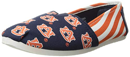 Forever Collectibles NCAA Auburn Tigers Women's Canvas Stripe Shoes, Medium (7-8), Blue Auburn Tigers Ncaa Stripes