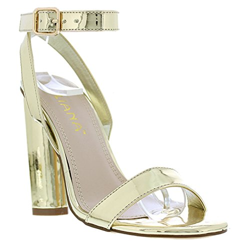 Gold Braid Heels Shoes (Liliana Shinny Metallic Mirror Block Heel Ankle Strap Open Toe Chunky Sandal Shoe Olov-2(Gold 10))