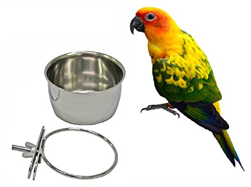 Bird Parrot Feeding Cups Cage Hanging Bowl Stainless Steel Perches Play Stand with Clamp - Bird Coop Cups Seed Water Food Dish Feeder Bowl 10 Ounce