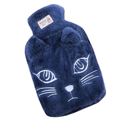 ket Cute Hot-Water Bottle Water Bag Cartoon Cat Blue ()