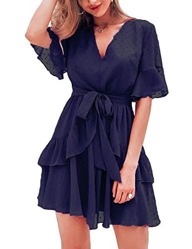 (FENJAR Women Cute V Neck Short Sleeve Dresses Polka Dot Swing Ruffle Hem Mini Party Dress(Blue, Medium))