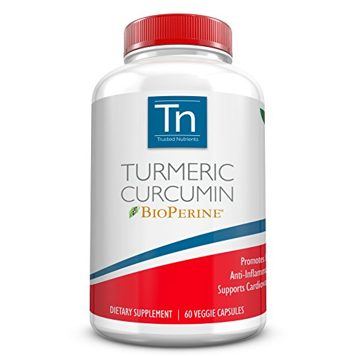 Trusted Nutrients Turmeric Curcumin Supplement with BioPerine® – High Absorption 1400mg Veggie Capsules 60 Count. 95% Curcuminoids Standardized Supplement. Advanced Pain Relief and Joint Support.