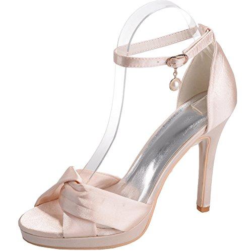 Loslandifen Donna Open Toe Cinturino Alla Caviglia Sandali In Raso Stiletto Tacco Alto Scarpe Da Sposa Champagne
