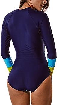 SEASUM Womens Fashion Printing Rashguard Long Sleeve Zip UV Protection Print Surfing Swimsuit Swimwear Bathing Suits
