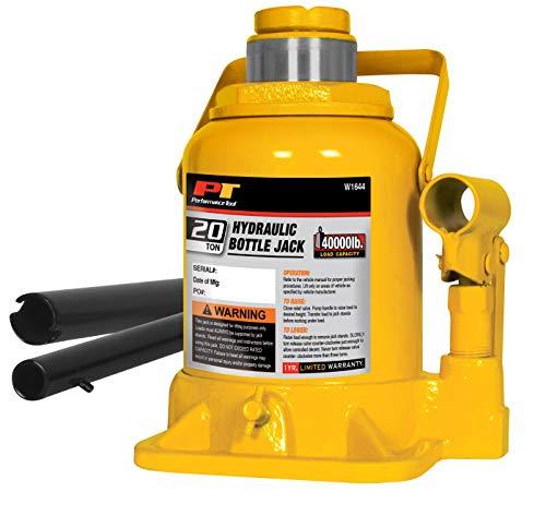 Performance Tool W1644 20-Ton (40,000 lbs.) Heavy Duty Shorty Hydraulic Bottle Jack | Lift Range: 7-1/2