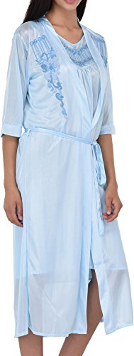Women's Satin Silk 2 Piece Nightgown Set by EZI