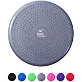 "Inflatable Wobble Cushion with Pump by Day 1 Fitness - 13"" Grey - Durable Exercise Balance Pad to Improve Coordination, Stability, and Core - Balancing Disc Cushions for Home, Gym, School, Rehab"