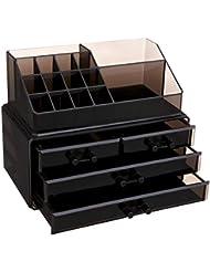 SONGMICS Makeup Organizer Cosmetic Storage Jewelry Display Case 2 Pieces Set UJMU04B